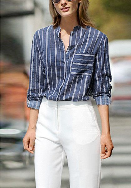 You'd be hard-pressed to find a shirt as crisp and comfortable as this blue vertical striped shirt.