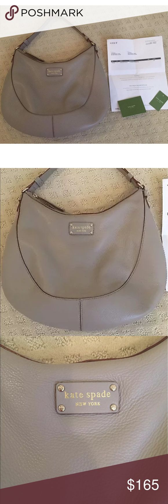 Kate Spade gray color hobo style bag Beautiful Kate Spade hobo style bag. Purchased from Gilt. Carried a few times. Excellent condition! kate spade Bags Hobos