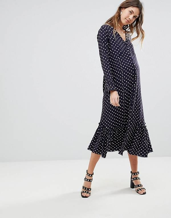 ccf698f5829cc ASOS Maternity Button Through Midi Dress in Spot | Maternity Outfits ...
