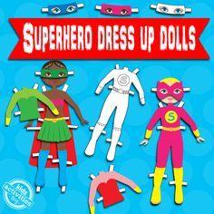 Superhero Dress Up Dolls {Free Kids Printable}. Fun for all!