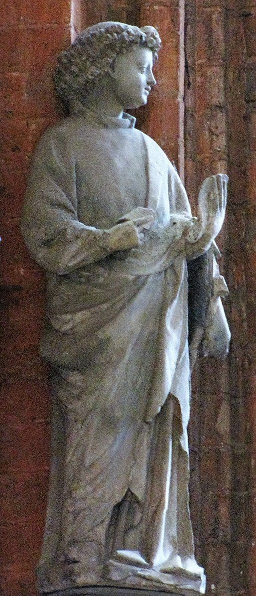 Stone statues from the Lettner (rood screen) of St. Marien, Lübeck, 1410: Angel Gabriel (part of annunciation group)