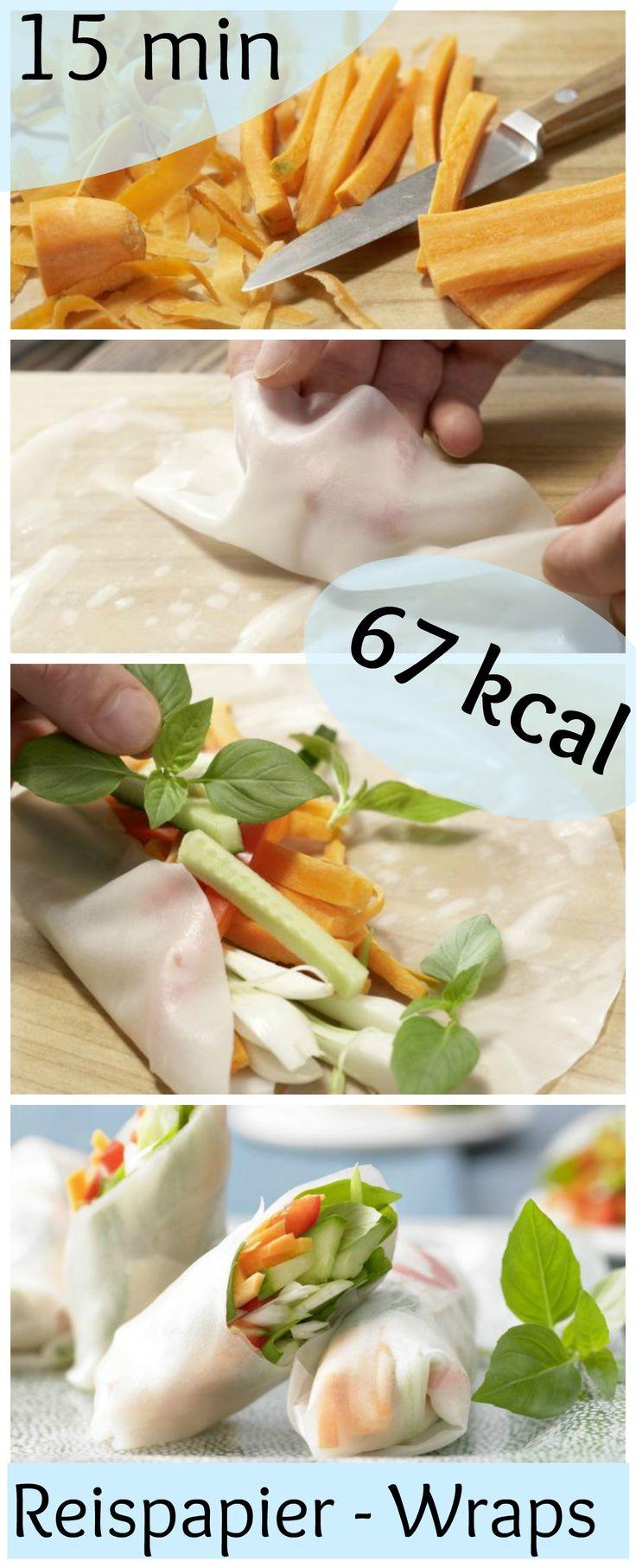 Rohkost to go – perfekt zum Mitnehmen für die Mittagspause oder zum Picknick : Reispapier-Wraps mit Gemüse | http://eatsmarter.de/rezepte/reispapier-wraps