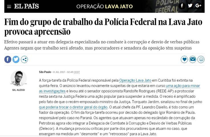 Fim do grupo de trabalho preocupa Fenapef, divulga El País