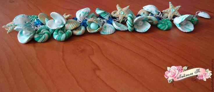"""Купить Браслет """" Морской"""" - браслет, Браслет ручной работы, браслет с бусинами, браслет с ракушками"""