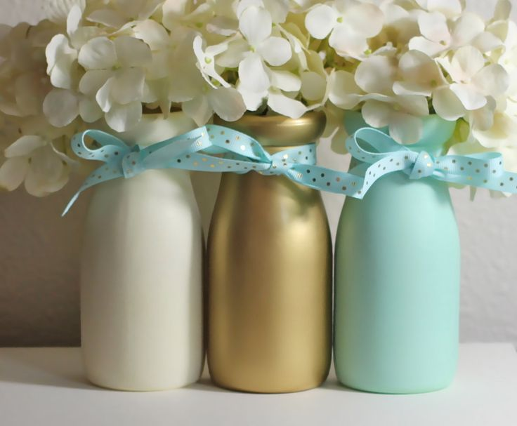 Mint and Gold Baby Shower Decorations Baby Shower Centerpiece Vases Nursery Decor  Gender Neutral Half Pint Milk Bottles by HalfPintPMB on Etsy https://www.etsy.com/listing/246054060/mint-and-gold-baby-shower-decorations