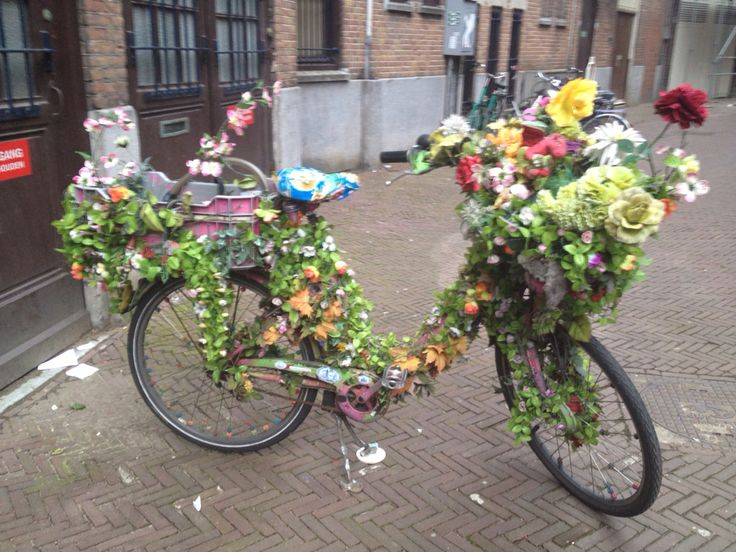 Flower covered bike in Amsterdam.