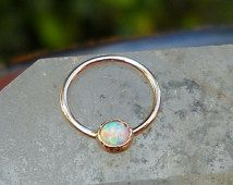 White Opal 3mm Stone Nipple Ring Piercing/Septum Ring/Nose Ring/Conch Piercing 14K Solid Rose Gold Handcrafted