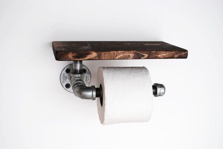 Support pour papier hygiénique industriel avec étagère, pipe galvanisée Récupérée décor industriel, salle de bain, porte tp