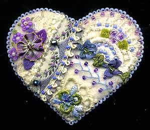 Wool Felt Crazy Quilt Heart Pin D - SORRY, THIS IS SOLD