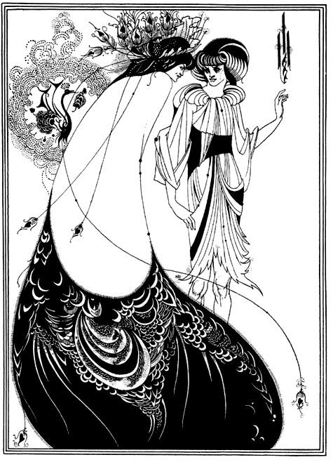 Aubrey Beardsley...one of my favorite pictures ever.: Beardsley Illustrations, Peacock Skirts, Abs, Decals, Aubrey Beardsley Peacock Again, Costume, English Illustrations, Feathers, Oscars Wild