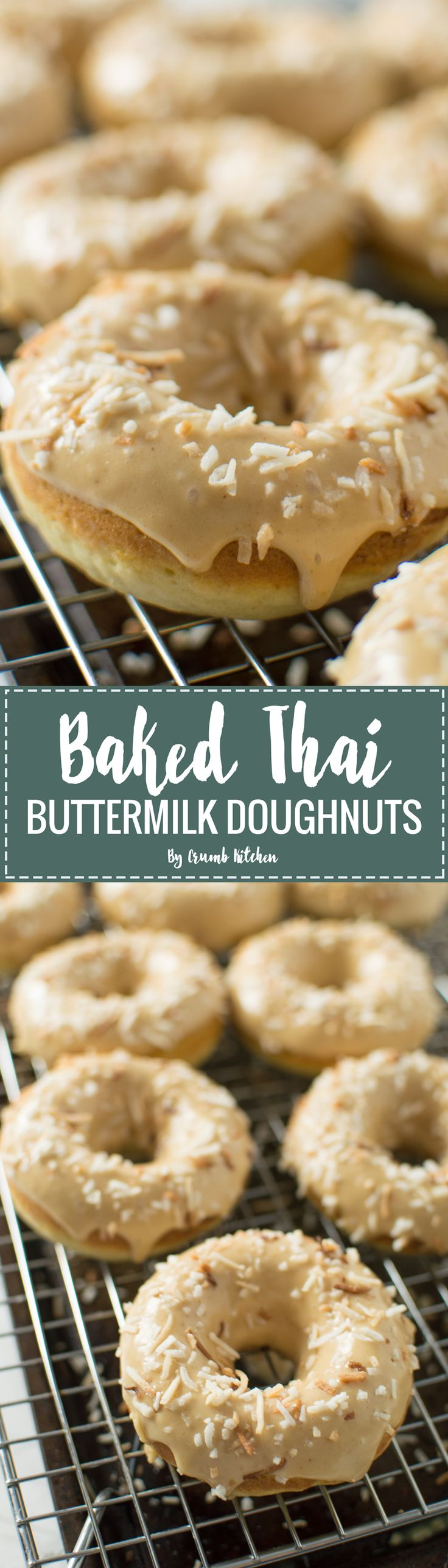 These Baked Thai Buttermilk Doughnuts are the softest, sweetest doughnuts with a Thai-inspired peanut butter lime frosting. | Crumb Kitchen