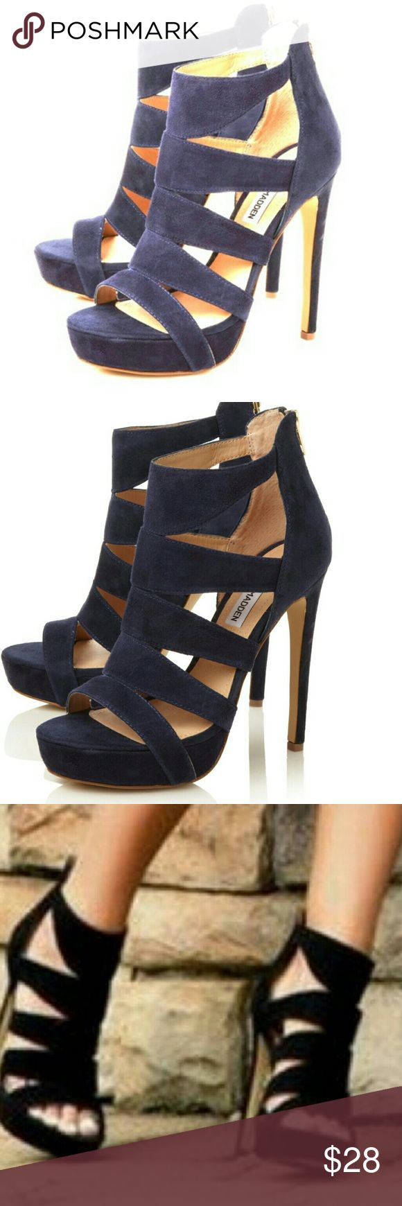 Steve Madden Caged Navy Heels Steve Madden Spycee suede strappy heels. Capture everyone's attention with its thick straps, back zipper and sky-high stiletto heel. Worn only once! Excellent condition! Get it now for Spring & Summer b4 I change my mind n keep! Steve Madden Shoes Heels