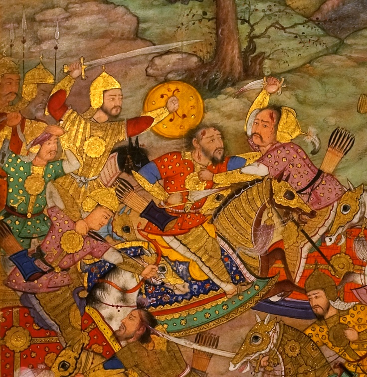 Detail from The battle of Kanua, 1527. A folio from the Baburnama ('Memoirs of Babur')   By Mahesh, 1590–93  © The British Library Board mughal india
