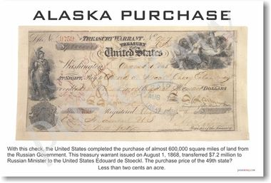alaska purchase, check, money, russian america, acquisition, document, historical, social studies, history,ancient,motivational school teachers supplies, poster wall art students elementary gift decoration motivating school education learning