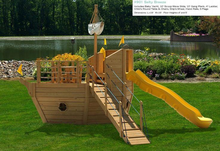 Type pirate ship backyard playset design hideout - Pirate ship wooden playground ...