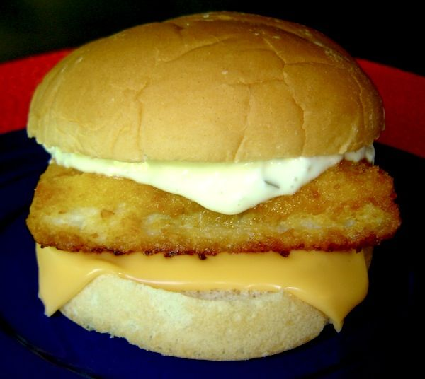 Top Secret Recipes | McDonald's Filet-O-Fish: 2 T Mayo, 2 tsp sweet relish, 2 tsp minced onion, pinch salt, 2 plain hamburger buns, 2 Mrs. Paul's breaded fish portions (square), 1 slice American cheese.