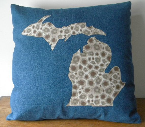 "Michigan Petoskey Stone Applique Pillow Cover, 18 X 18"", Decorative Pillow Cover, Accent Pillow Cover"
