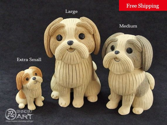"Etsy のKawaii Ceramic Dog ""Shih Tzu"", Ceramic Paperweight, Desk Accessories, Ceramic Animals, Free Shipping(ショップ名:ShinobuArakiArt)"