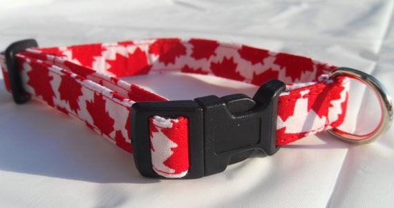 red/white Canadian maple leaf collar  small by CollarYourDog, $10.00