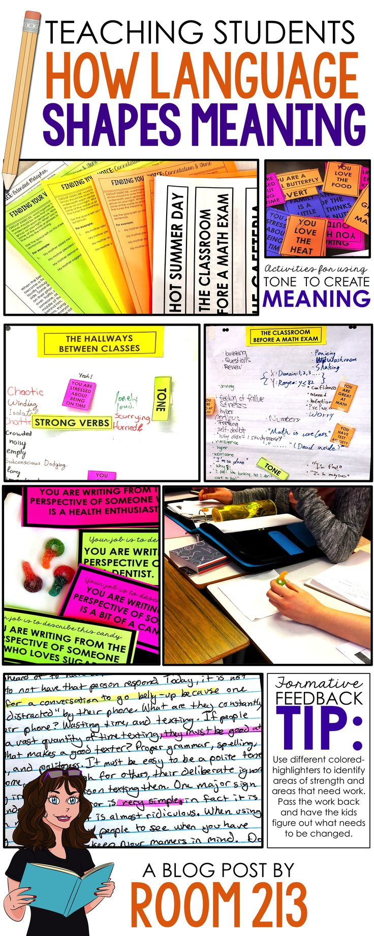 Check out this blog post to get ideas for writing lessons and activities on word choice, connotation, tone, sensory imagery and figurative language,