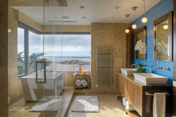 vasque rectangulaire, deux vasques rectangulaires das une salle de bains lumineuse