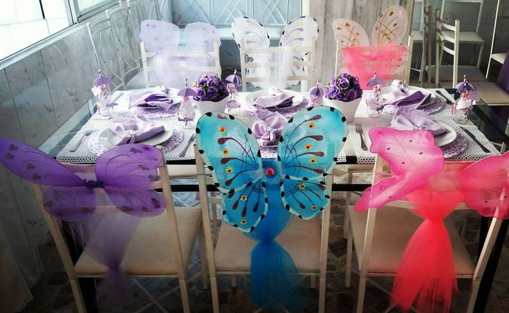 Mesa posta para as Borboletas do Jardim! Party Decorations