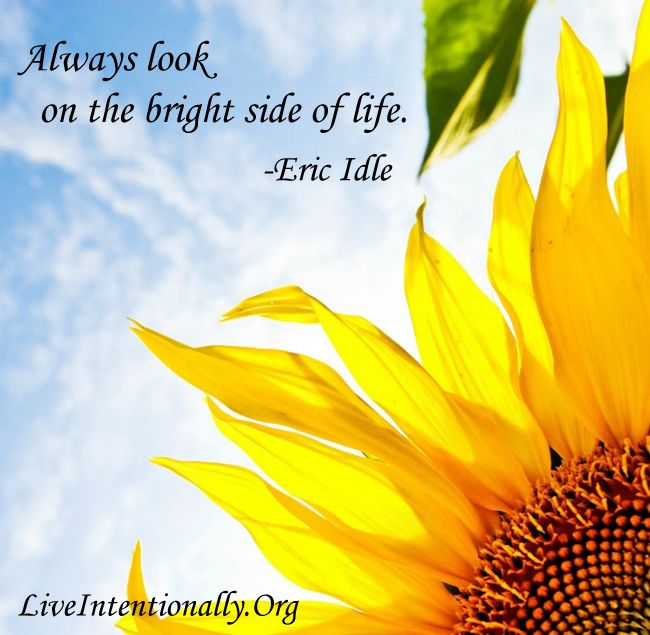 inspirational quote  always look on the bright side of