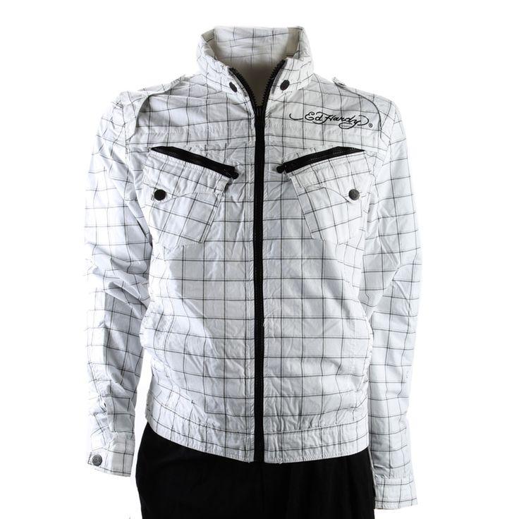 Ed Hardy Mens Death Or Glory Windbreaker Jacket – Black/White