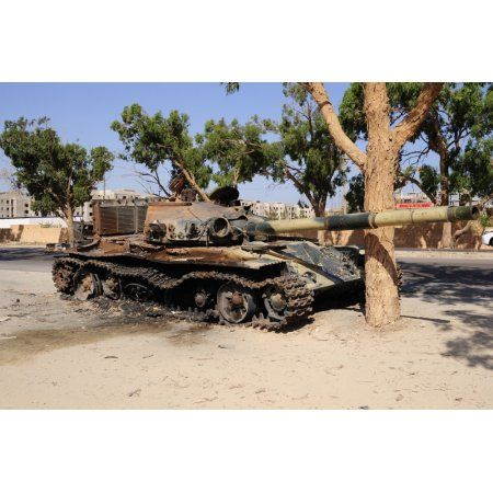 A T-72 tank destroyed by Nato forces just outside Benghazi Libya Canvas Art - Andrew ChittockStocktrek Images (35 x 23)