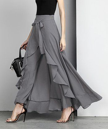 Charcoal Chiffon High-Waist Ruffle Palazzo Pants - Plus