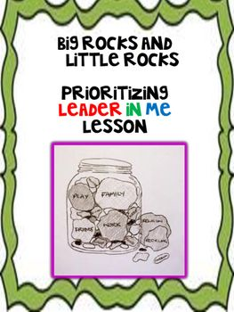 """A step by step lesson that teaches students what are the important things in life through the idea of important things being """"big"""" rocks and lesser important things are """"little"""" rocks. Students will learn how to """"put first things first"""" and also have the opportunity to create their own big rocks and little rocks project that could be turned into a hallway display or into their leadership notebooks."""