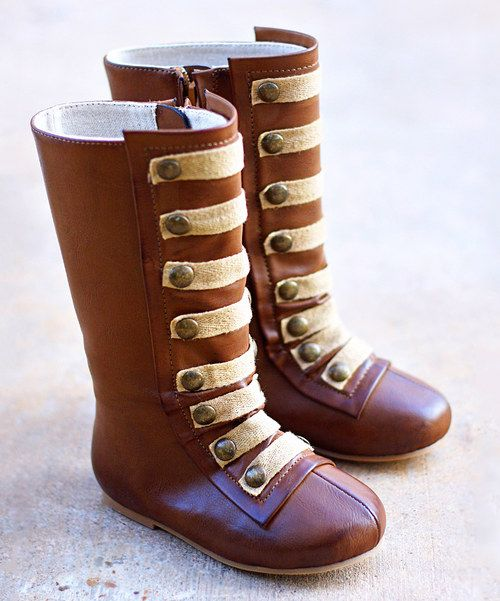 Take a look at the Cognac & Brass Military Leighton Boot - Kids on #zulily today!