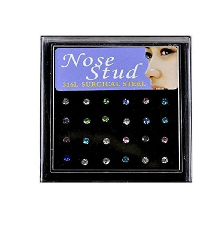 Kathy Store INC Assorted Color Rhinestone 316L Surgical Steel 24 piece set Nose Stud by Kathy store INC -- Awesome products selected by Anna Churchill
