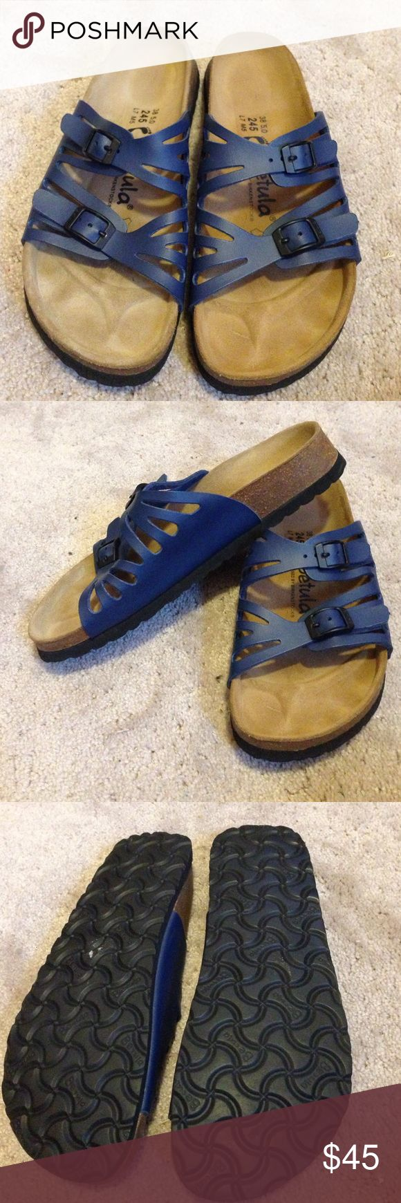 Birkenstock betula sandals Only worn once! Great condition. Very comfy blue sandals, womens size 38/7 Birkenstock Shoes Sandals