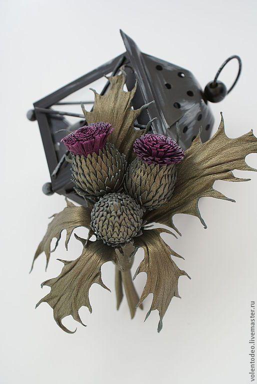 Купить Брошь из натуральной кожи - оливковый, чертополох, брошь цветок, брошь из кожи