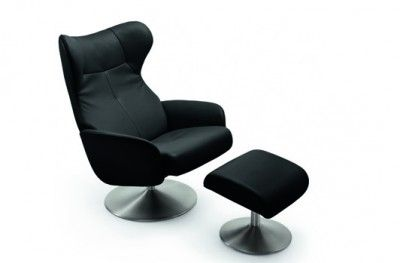 Runde hvilestol modern stuffed armchair black leather steel norwegian design stordal www.helsetmobler.no