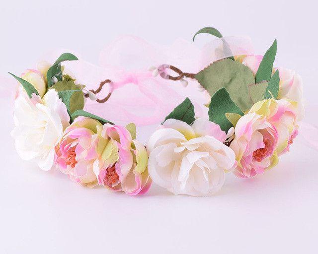 CXADDITIONS Camellia Rose Flower Leafy Fairy Halo Floral Crown Hair Head Wreath Wedding Headpiece Bridesmaid Forest Green Bridal