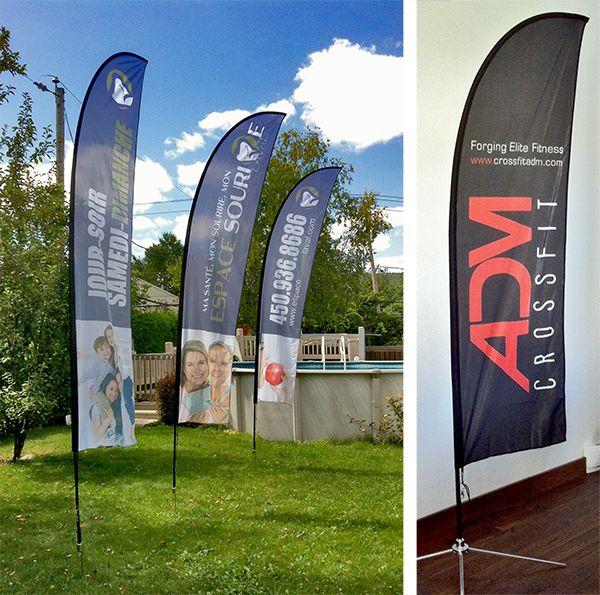 Drapeau publicitaire Beach Flags Montréal Terrebonne. Contactez-nous pour connaître nos prix compétitifs.