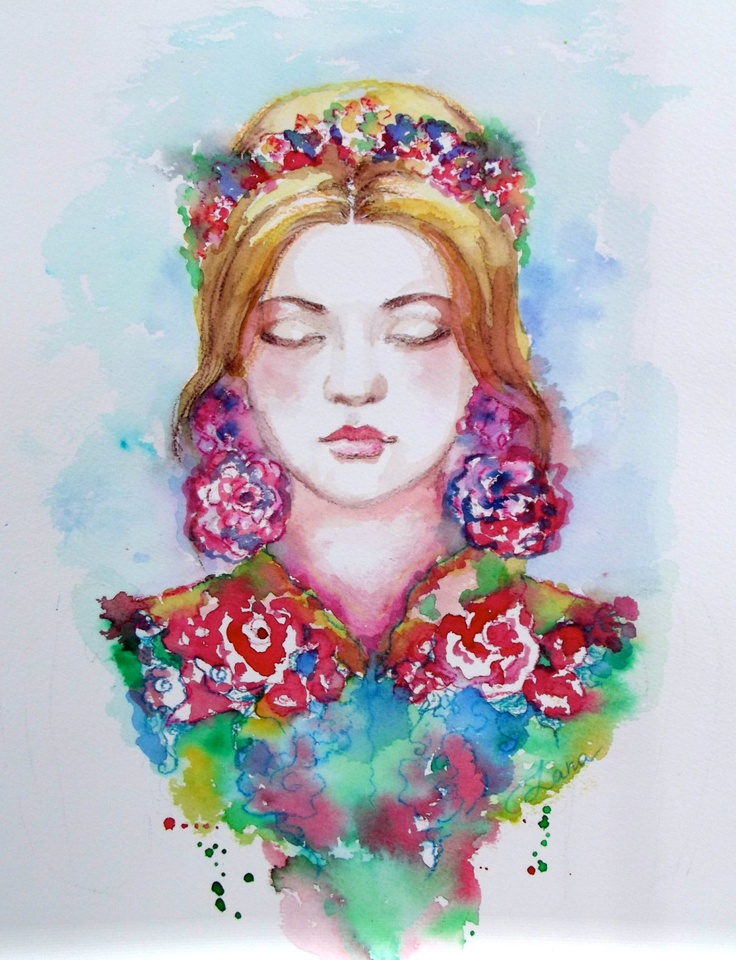 Original Watercolor Bohemian Fashion Illustration by by LanasArt