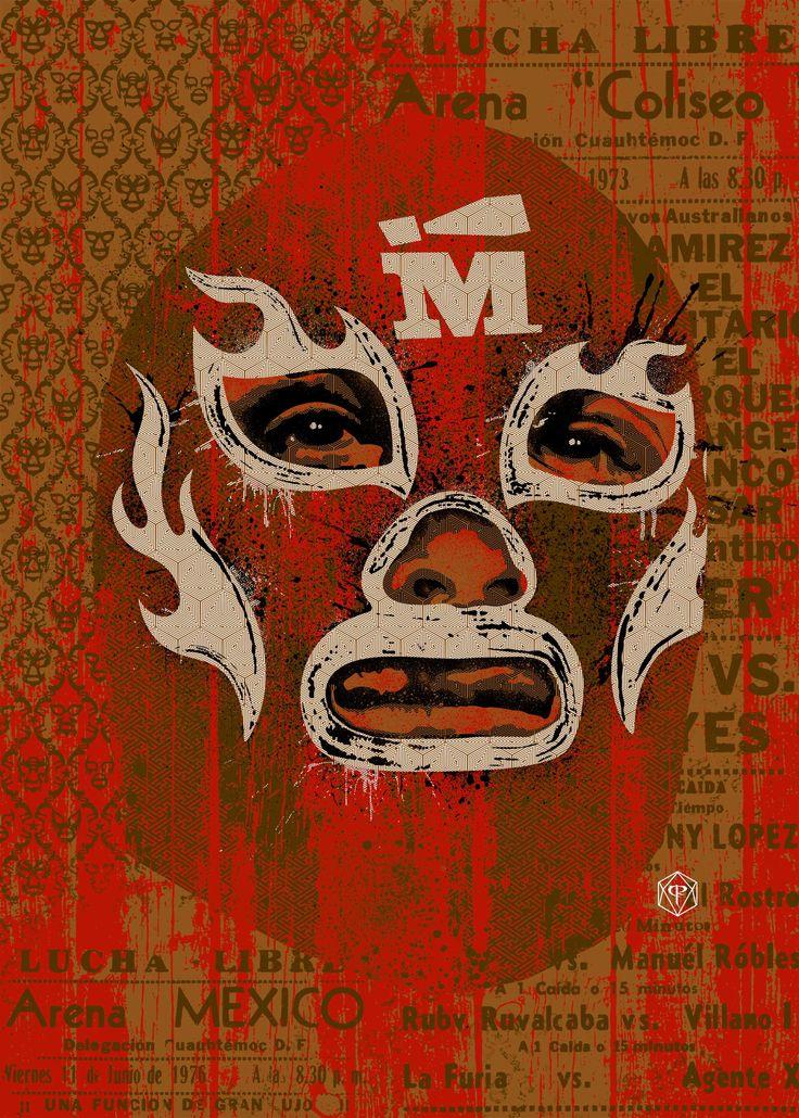 Lucha libre, Ilustración promocional para la cadena de restaurantes en Australia Madmex. Luchador, luchas,mexican luchas.