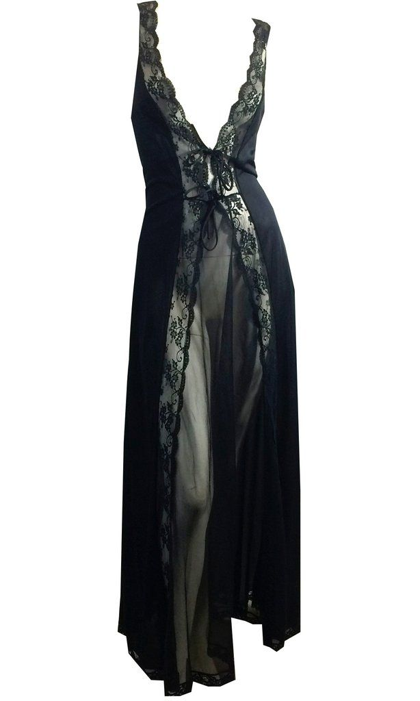 Vampy Black Sheer Nylon and Lace Nightgown w/ Plunging Neckline and Open Back circa 1970s