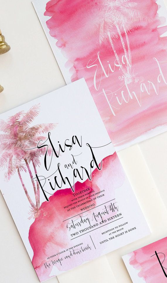 Tropical wedding invitation watercolor with by DesignedWithAmore