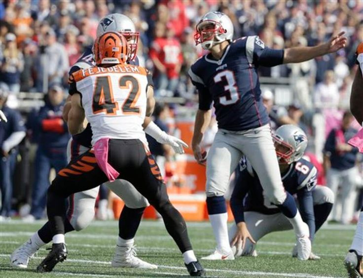 Bengals vs. Patriots:     October 16, 2016  -  35-17, Patriots  -       Stephen Gostkowski (3) follows through on a field goal against the Cincinnati Bengals during the first half of an NFL football game, Sunday, Oct. 16, 2016, in Foxboro. (AP Photo/Steven Senne)