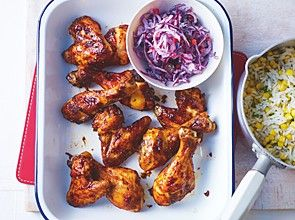 Sticky asian BBQ chicken wings with sweet corn rice and red cabbage slaw