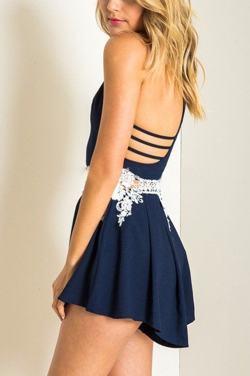 Navy Cami Playsuit with Lace Details -YOINS
