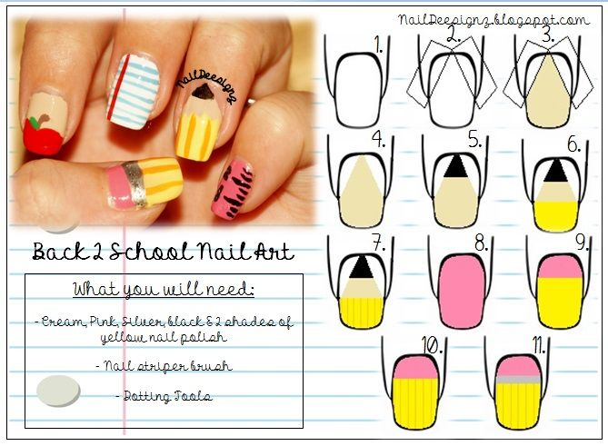 46 best Back to School Nails - Nail Art images on Pinterest | School ...