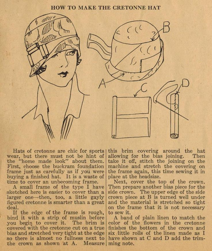 The Midvale Cottage Post: Home Sewing Tips from the 1920s - Sewing A Chic Cretonne Hat