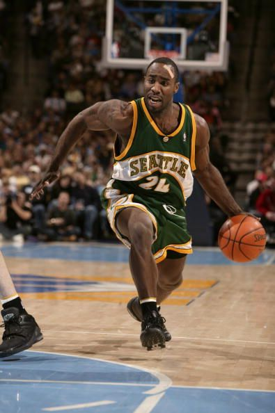 Mateen Cleaves of the Seattle SuperSonics moves the ball during the game against the Denver Nuggets at Pepsi Center on December 29 2005 in Denver...