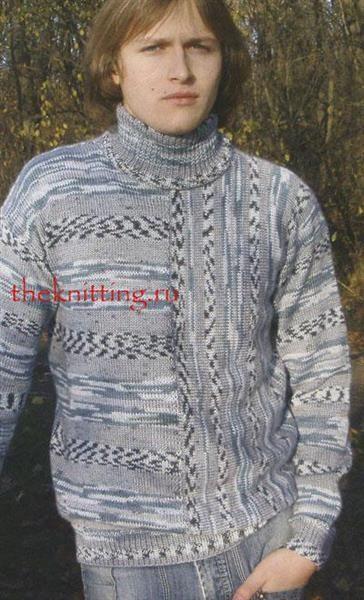 Вязание цветной свитер для мужчин