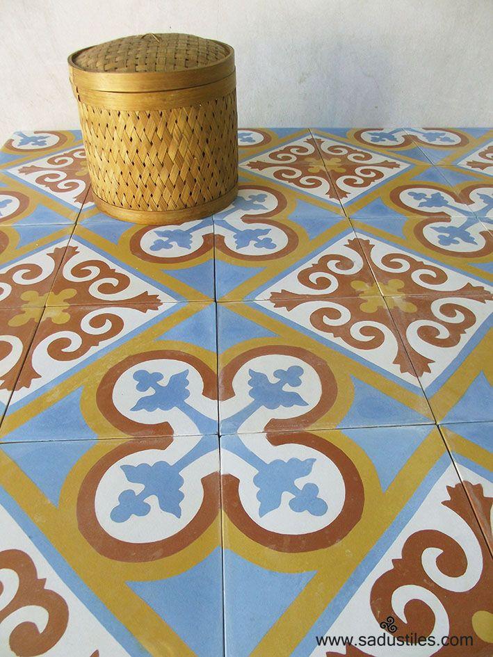 Sadus Tiles hand made cement tiles motif K-75 from Bali